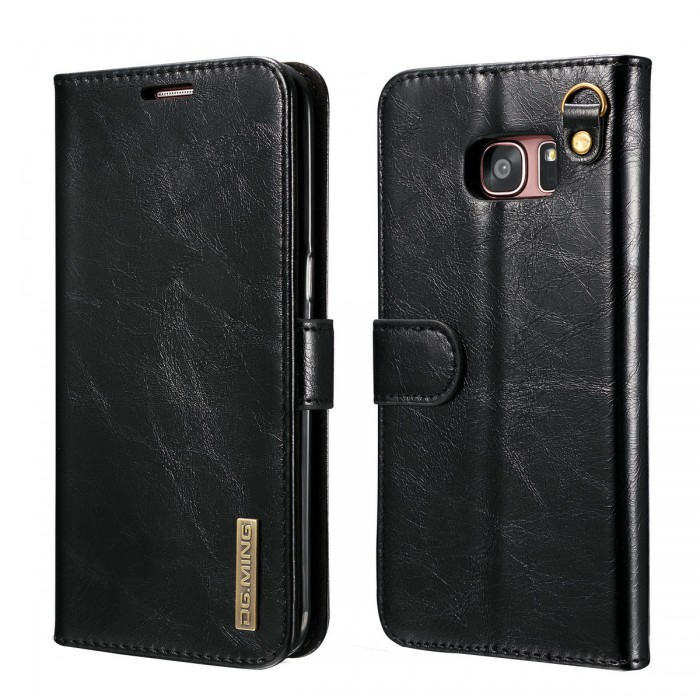 DG MING S7 edge Case Flip Cover Leather Wallet Magnetic Detachable Back Cover Works With Magnetic Car Stand for Samsung Galaxy S7 edge - Vintage Black