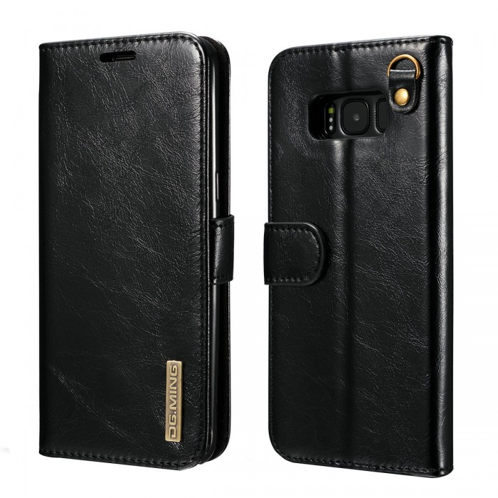 DG MING S8 Case Flip Cover Leather Wallet Magnetic Detachable Back Cover Works With Magnetic Car Stand for Samsung Galaxy S8 - Vintage Black