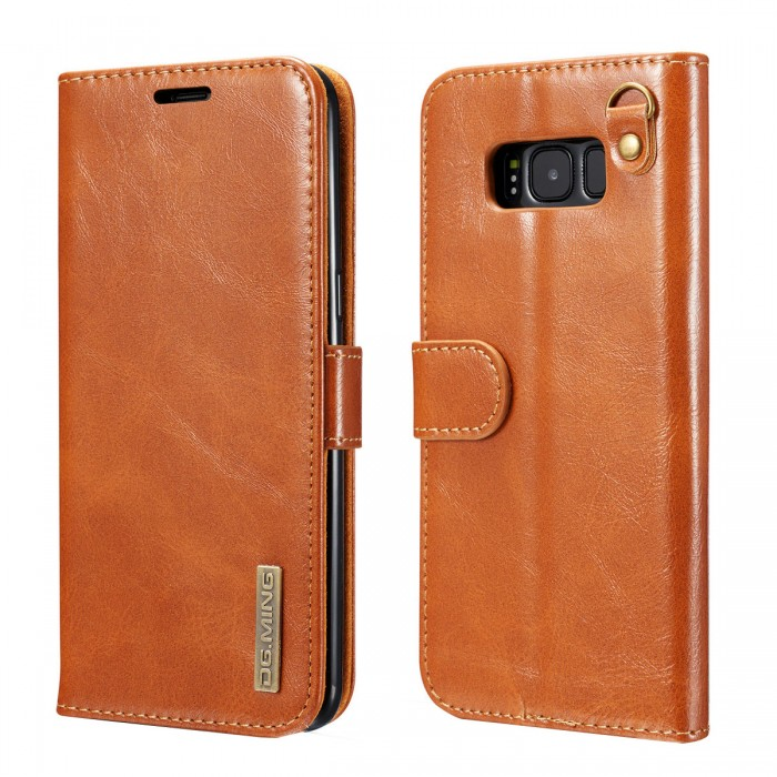 DG MING S8 Case Flip Cover Leather Wallet Magnetic Detachable Back Cover Works With Magnetic Car Stand for Samsung Galaxy S8 - Vintage Brown