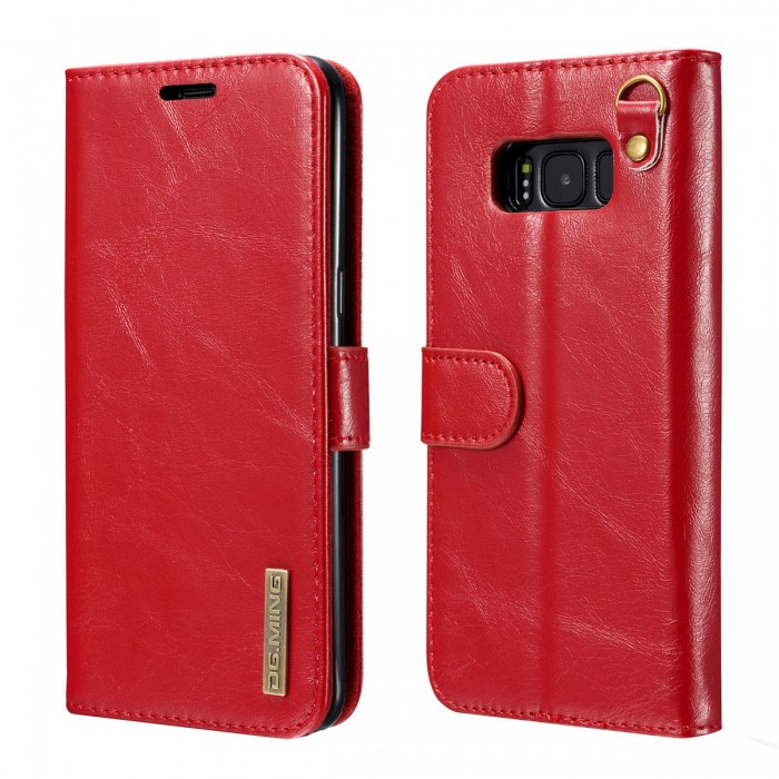 DG MING S8 Case Flip Cover Leather Wallet Magnetic Detachable Back Cover Works With Magnetic Car Stand for Samsung Galaxy S8 - Vintage Red