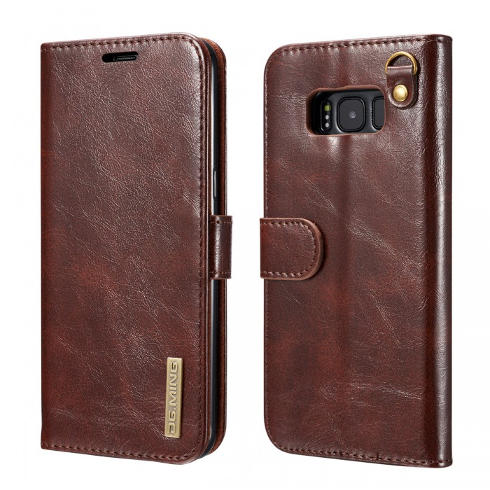 DG MING S8 Case Flip Cover Leather Wallet Magnetic Detachable Back Cover Works With Magnetic Car Stand for Samsung Galaxy S8 - Vintage Coffee