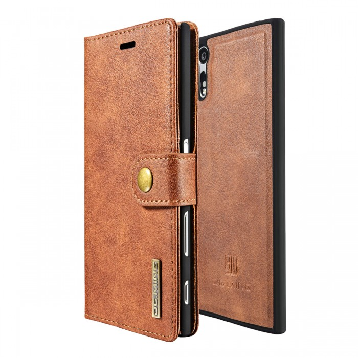 DG MING Sony Xperia XZ XZs Case Flip Cover Leather Wallet Magnetic Detachable Back Cover for Sony Xperia XZ Xperia XZs - Brown
