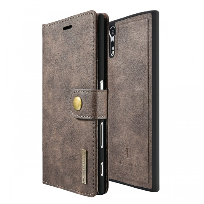 DG MING Sony Xperia XZ XZs Case Flip Cover Leather Wallet Magnetic Detachable Back Cover for Sony Xperia XZ Xperia XZs - Grey