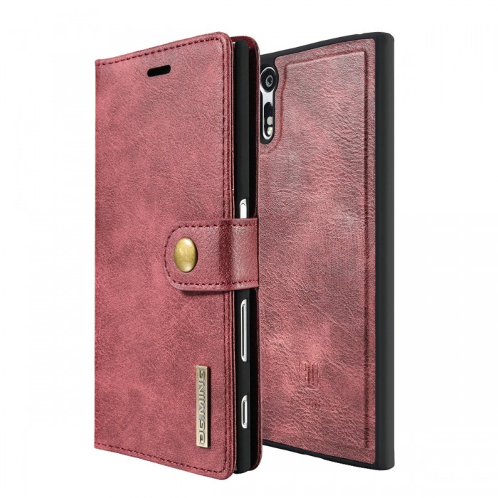 DG MING Sony Xperia XZ XZs Case Flip Cover Leather Wallet Magnetic Detachable Back Cover for Sony Xperia XZ Xperia XZs - Red