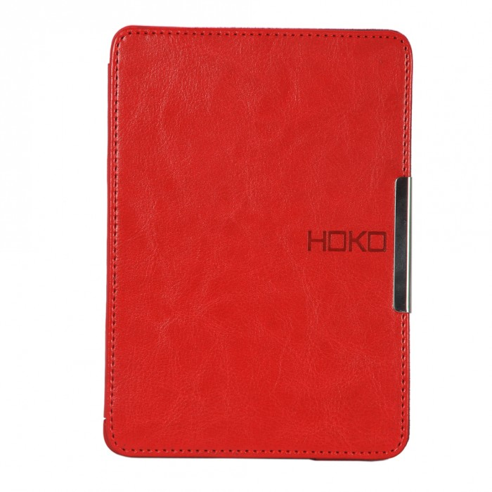 HOKO Red Slim Leather Flip Case Cover with magnetic closure for Kindle Paperwhite (Auto wake and sleep)