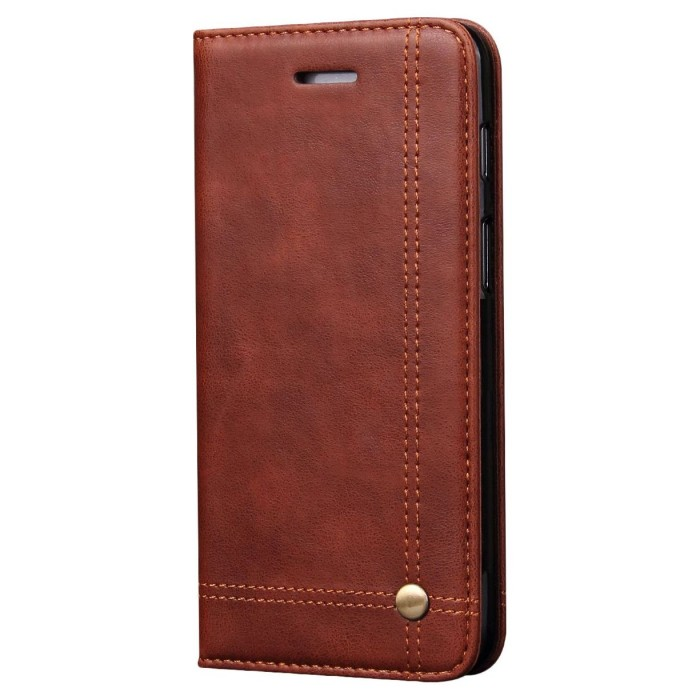 CUBIX Leather Case for Oneplus 6, One Plus 6 Classic Leather Wallet Cases Slim Folio Book Cover with Credit Card Slots, Cash Pocket, Stand Holder, Magnet Closure (Brown)