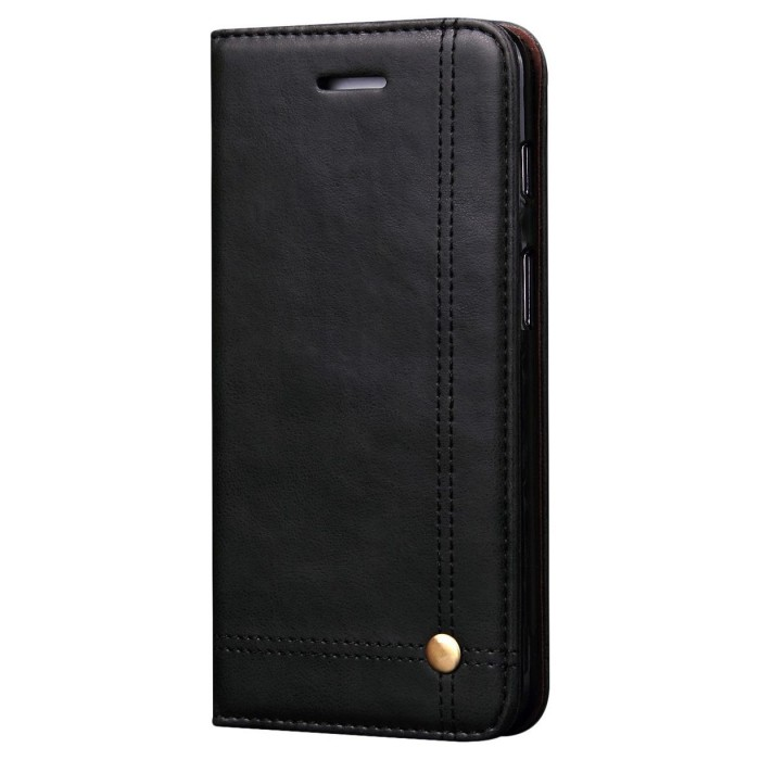 CUBIX Leather Case for Oneplus 6, One Plus 6 Classic Leather Wallet Cases Slim Folio Book Cover with Credit Card Slots, Cash Pocket, Stand Holder, Magnet Closure (Black)