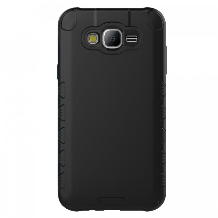 Galaxy J7 Case (Cubix) Armor Robot Cover [Anti Scratch] Slim-Fit Two Layer Defender Bumper Back cover For Samsung galaxy J7 (Matte Black)