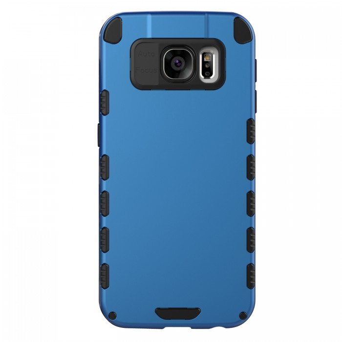 Galaxy S6 Case (Cubix) Armor Robot Cover [Anti Scratch] Slim-Fit Two Layer Defender Bumper Back cover For Samsung Galaxy S6 (Blue)