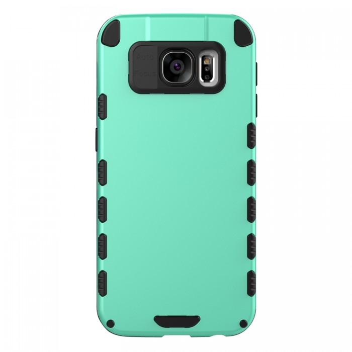 Galaxy S6 Case (Cubix) Armor Robot Cover [Anti Scratch] Slim-Fit Two Layer Defender Bumper Back cover For Samsung Galaxy S6 (Sea Green)