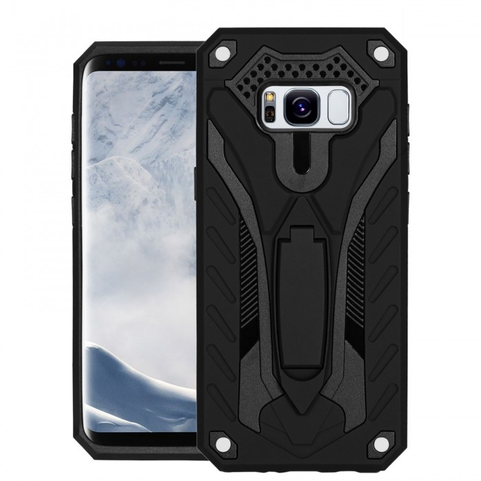 Cubix Case for Samsung Galaxy S8 Robot 2017 Series Case Back Cover Hybrid Defender Bumper shock proof Case Armor Cover With 2 way Stand for Samsung Galaxy S8 (Black)