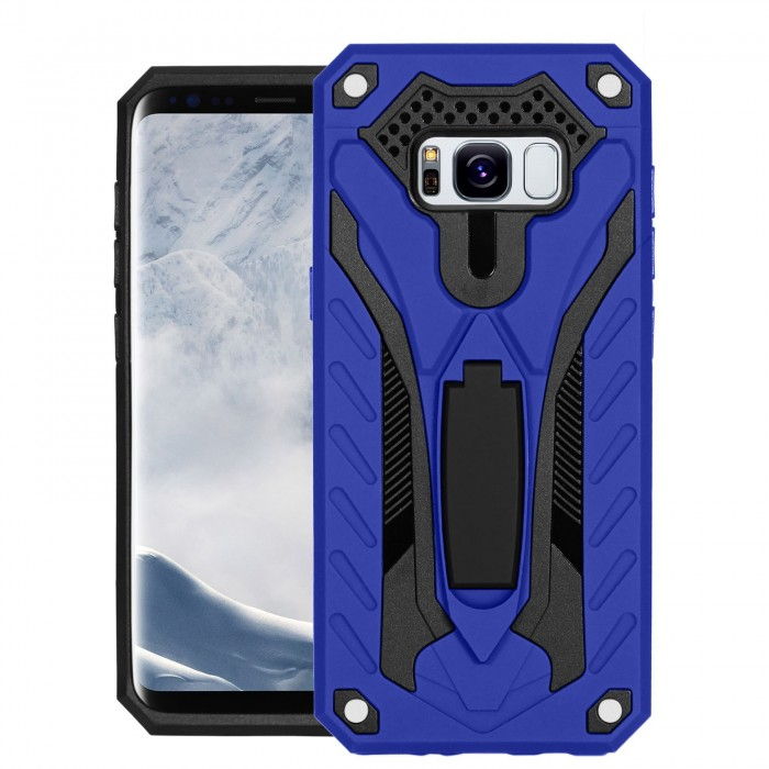 Cubix Case for Samsung Galaxy S8 Robot 2017 Series Case Back Cover Hybrid Defender Bumper shock proof Case Armor Cover With 2 way Stand for Samsung Galaxy S8 (Blue)
