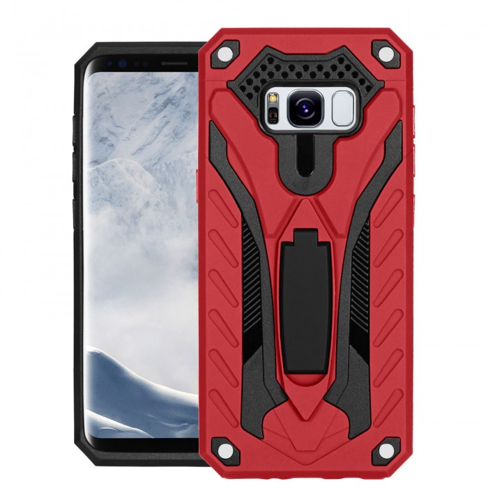 Cubix Case for Samsung Galaxy S8 Robot 2017 Series Case Back Cover Hybrid Defender Bumper shock proof Case Armor Cover With 2 way Stand for Samsung Galaxy S8 (Red)