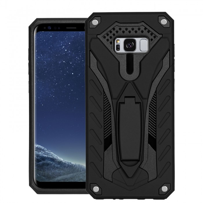 Cubix Case for Samsung Galaxy S8+, Galaxy S8 Plus Robot 2017 Series Case Back Cover Hybrid Defender Bumper shock proof Case Armor Cover With 2 way Stand for Samsung Galaxy S8+, Galaxy S8 Plus (Black)