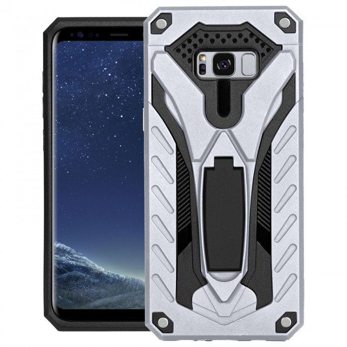 Cubix Case for Samsung Galaxy S8+, Galaxy S8 Plus Robot 2017 Series Case Back Cover Hybrid Defender Bumper shock proof Case Armor Cover With 2 way Stand for Samsung Galaxy S8+, Galaxy S8 Plus (Silver)