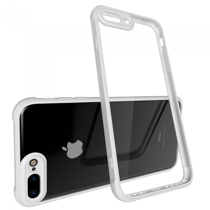 CUBIX Air Bag Case For Apple iPhone 7 Plus, Apple iPhone 8 Plus Shock Absorbing Soft Bumper and Hard Acrylic Anti Scratch Crystal Transparent Back Cover Case for Apple iPhone 7 Plus, Apple iPhone 8 Plus (White)