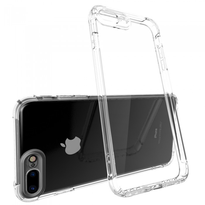 CUBIX Air Bag Case For Apple iPhone 7 Plus, Apple iPhone 8 Plus Shock Absorbing Soft Bumper and Hard Acrylic Anti Scratch Crystal Transparent Back Cover Case for Apple iPhone 7 Plus, Apple iPhone 8 Plus (Transparent)