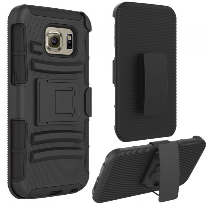 Galaxy S6 Case, CUBIX [Heavy Duty Series] Armor Holster Defender Full Body Protective Hybrid Case Cover with Belt Swivel Clip for for Samsung Galaxy S6 (Black)