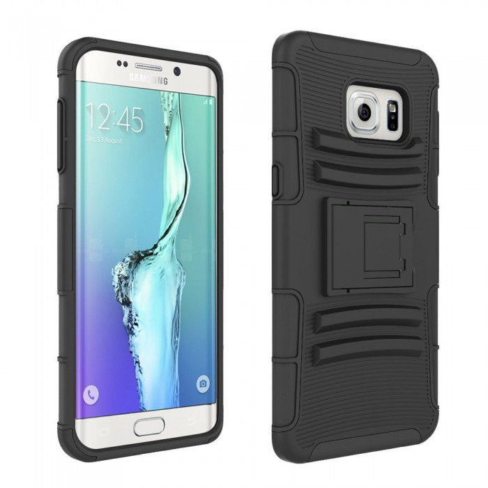 Galaxy S6 Edge Case, CUBIX [Heavy Duty Series] Armor Holster Defender Full Body Protective Hybrid Case Cover with Belt Swivel Clip for for Samsung Galaxy S6 Edge (Black)