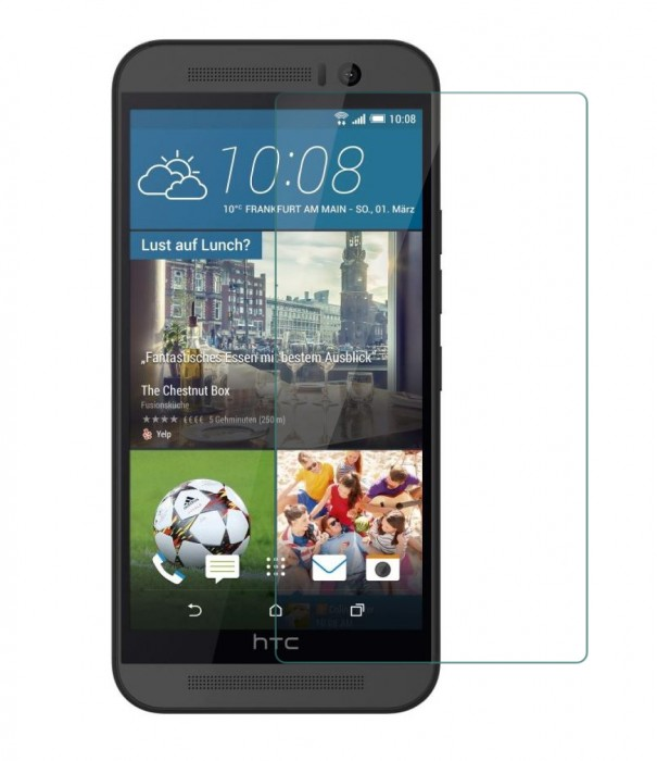 One M9 Tempered Glass, Flexible Glass, (HOKO) (Shatter Proof 0.3mm 2.5D Round Edge) Anti Oil Real Tempered Glass With Electroplating Coating for HTC One M9
