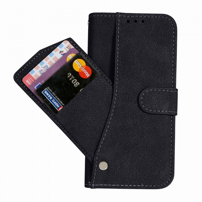 Cubix Flip Cover for Samsung Galaxy S7 edge Slide Out Pouch Leather Wallet Case Protective Back Cover (Black)
