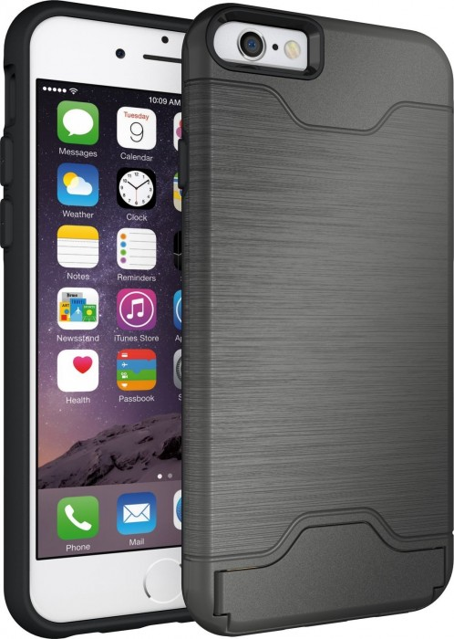 Apple iPhone 6 & iPhone 6s (4.7 Inch) Case Cubix Light Armor Series Cover Brushed Bumper Shock Absorbing Hard Slim Thin Protective Case Wallet ID Card Slot Kickstand Case Cover For Apple iPhone 6 & iPhone 6s (4.7 Inch) (Grey)