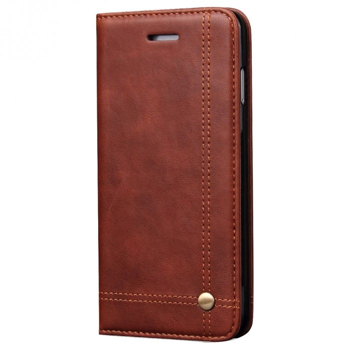 Apple iPhone 5, Apple iPhone 5s, Apple iPhone SE Case CUBIX Leather Case for Apple iPhone 5, Apple iPhone 5s, Apple iPhone SE Classic Leather Wallet Cases Slim Folio Book Cover with Credit Card Slots Cash Pocket Stand Holder Magnet Closure (Brown)