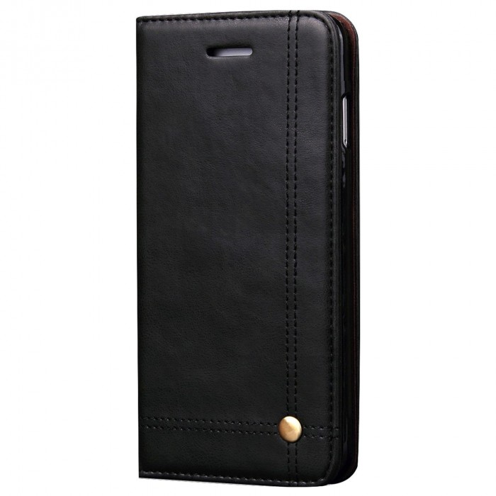Apple iPhone 6 Plus, Apple iPhone 6s Plus Case CUBIX Leather Case for Apple iPhone 6 Plus, Apple iPhone 6s Plus Classic Leather Wallet Cases Slim Folio Book Cover with Credit Card Slots Cash Pocket Stand Holder Magnet Closure (Black)