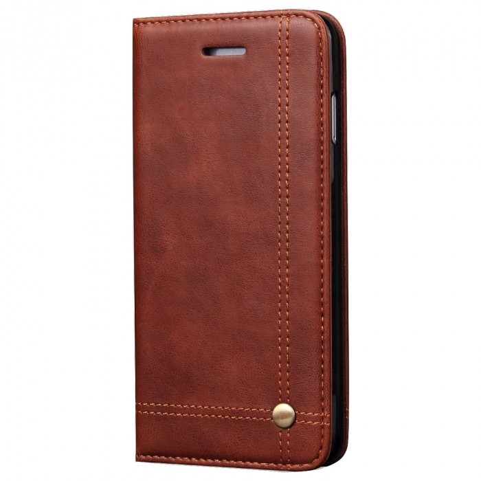 Apple iPhone 6 Plus, Apple iPhone 6s Plus Case CUBIX Leather Case for Apple iPhone 6 Plus, Apple iPhone 6s Plus Classic Leather Wallet Cases Slim Folio Book Cover with Credit Card Slots Cash Pocket Stand Holder Magnet Closure (Brown)