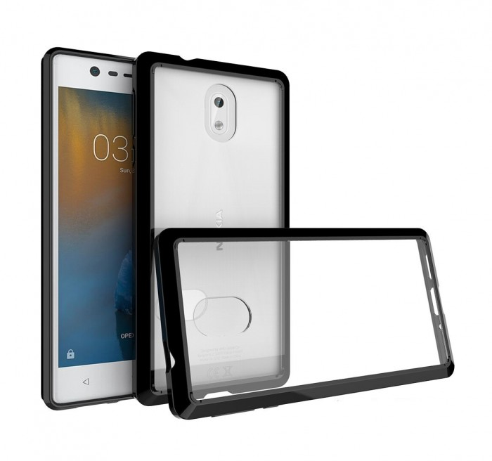 CUBIX Hybrid Air Case Soft Bumper and Hard Acrylic Crystal Transparent Back Cover TPU Cover Case for Nokia 3 (Black) Scratch Resistant Shock Absorbing