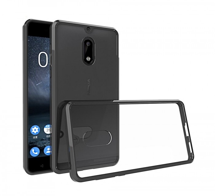 CUBIX Hybrid Air Case Soft Bumper and Hard Acrylic Crystal Transparent Back Cover TPU Cover Case for Nokia 6 (Black) Scratch Resistant Shock Absorbing