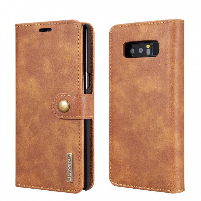 DG MING Note 8 Case Flip Cover Leather Wallet Magnetic Detachable Back Cover for Samsung Galaxy Note 8 - Brown