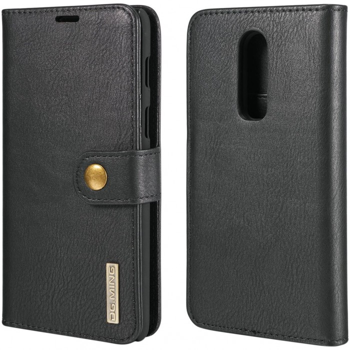 DG MING Case Flip Cover Leather Wallet Magnetic Detachable Back Cover for Oneplus 6 One Plus 6 - Black