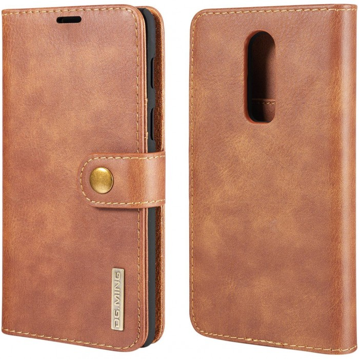 DG MING Case Flip Cover Leather Wallet Magnetic Detachable Back Cover for Oneplus 6 One Plus 6 - Brown