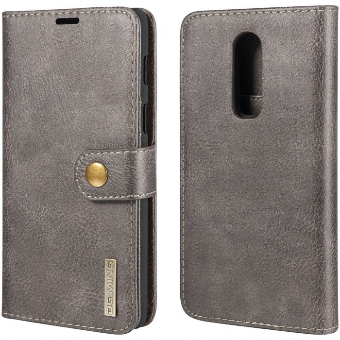 DG MING Case Flip Cover Leather Wallet Magnetic Detachable Back Cover for Oneplus 6 One Plus 6 - Grey