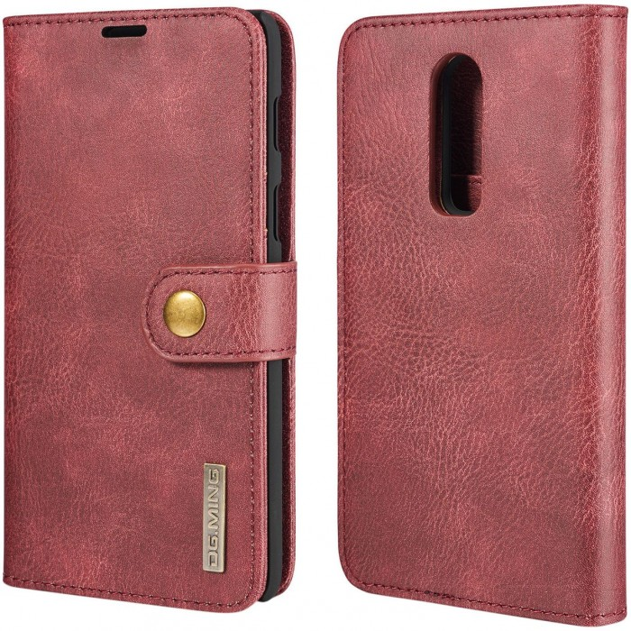 DG MING Case Flip Cover Leather Wallet Magnetic Detachable Back Cover for Oneplus 6 One Plus 6 - Red