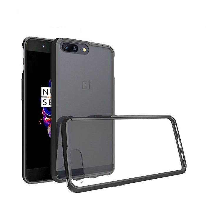 CUBIX Hybrid Air Case Soft Bumper and Hard Acrylic Crystal Transparent Back Cover TPU Cover Case for ONEPLUS 5, One Plus 5 (Black) Scratch Resistant Shock Absorbing