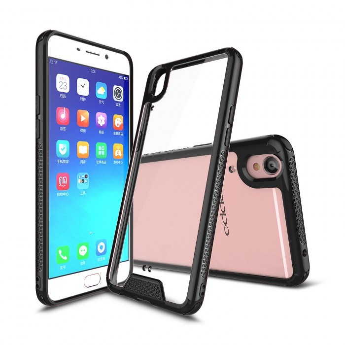 CUBIX Hybrid Air Case Soft Bumper and Hard Acrylic Crystal Transparent Back Cover TPU Cover Case for Oppo F1 Plus (Black) Scratch Resistant Shock Absorbing