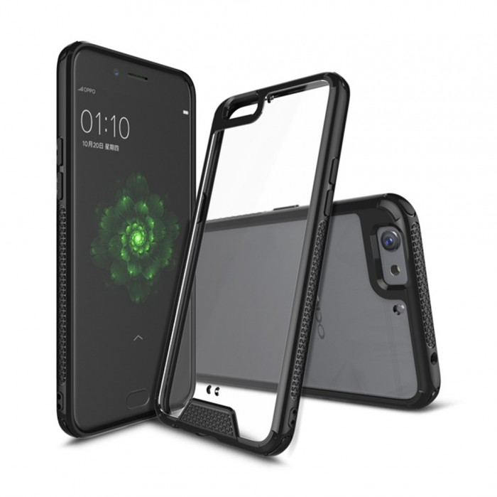 CUBIX Hybrid Air Case Soft Bumper and Hard Acrylic Crystal Transparent Back Cover TPU Cover Case for Oppo F3 Plus (Black) Scratch Resistant Shock Absorbing
