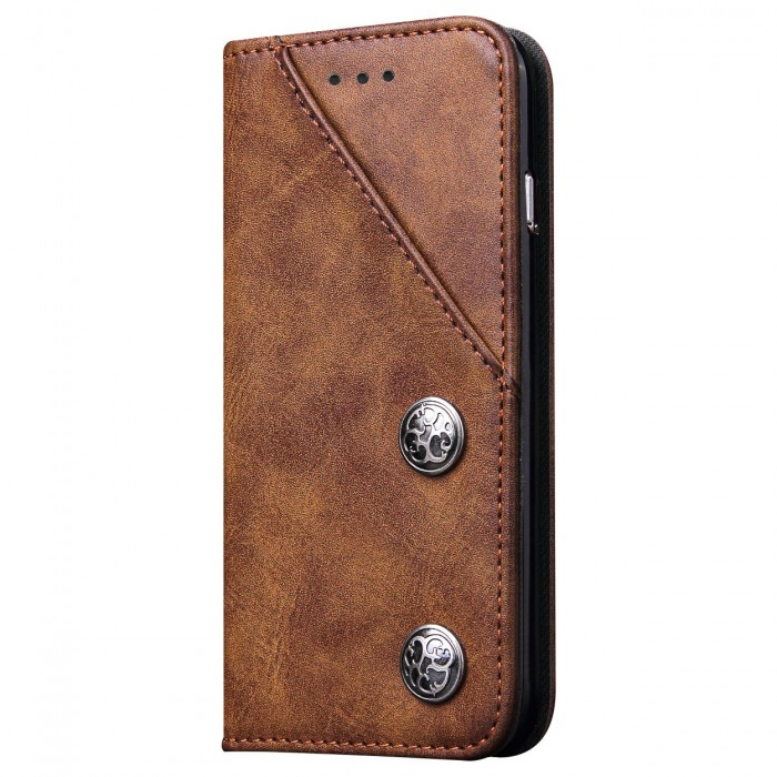 Samsung Galaxy S8 Case, Cubix Magnetic Flip Cover for Samsung Galaxy S8 Royal Leather Wallet Cases Slim Book Cover with Credit Card Slots, Cash Pocket (Brown)