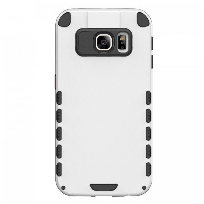 S6 Edge+ Case (Cubix) Armor Robot Cover [Anti Scratch] Slim-Fit Two Layer Defender Bumper Back cover For Samsung Galaxy S6 Edge+ (White)