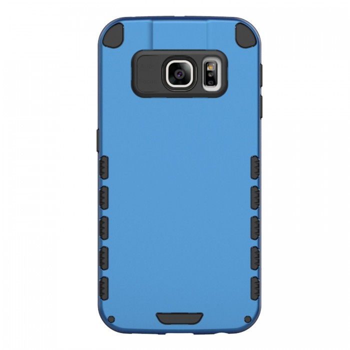 S6 Edge+ Case (Cubix) Armor Robot Cover [Anti Scratch] Slim-Fit Two Layer Defender Bumper Back cover For Samsung Galaxy S6 Edge+ (Blue)