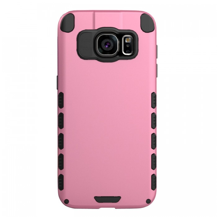 Galaxy S7 edge Case (Cubix) Armor Robot Cover [Anti Scratch] Slim-Fit Two Layer Defender Bumper Back cover For Samsung Galaxy S7 edge (Pink)