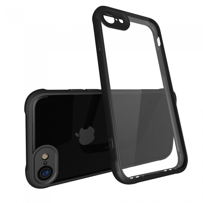 CUBIX Air Bag Case For Apple iPhone 7, Apple iPhone 8 Shock Absorbing Soft Bumper and Hard Acrylic Anti Scratch Crystal Transparent Back Cover Case for Apple iPhone 7, Apple iPhone 8 (Black)