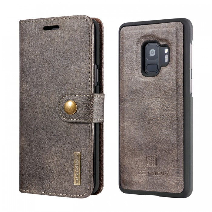 DG MING S9 Case Flip Cover Leather Wallet Magnetic Detachable Back Cover for Samsung Galaxy S9 - Grey