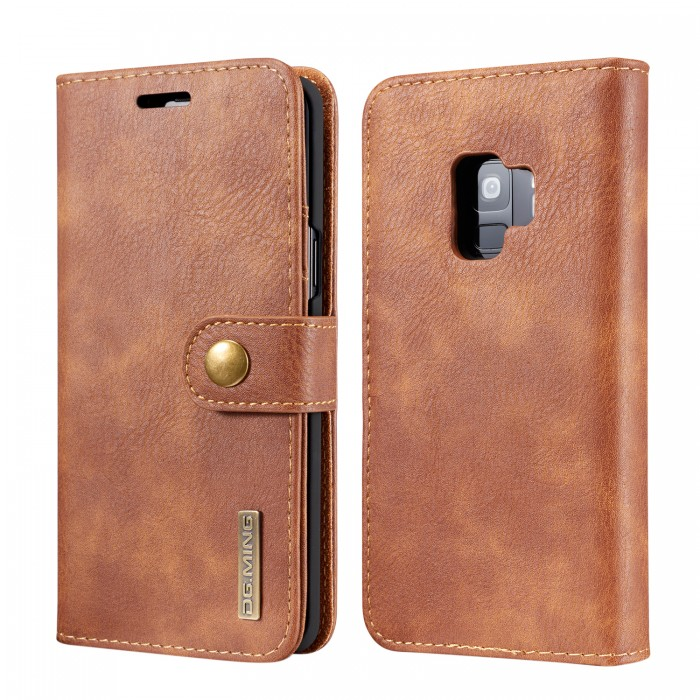 DG MING S9 Case Flip Cover Leather Wallet Magnetic Detachable Back Cover for Samsung Galaxy S9 - Brown