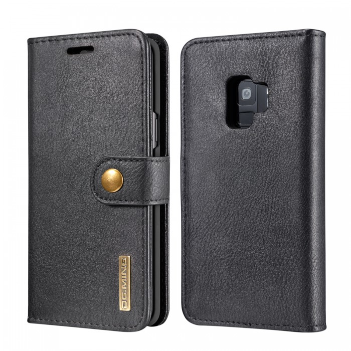 DG MING S9 Case Flip Cover Leather Wallet Magnetic Detachable Back Cover for Samsung Galaxy S9 - Black