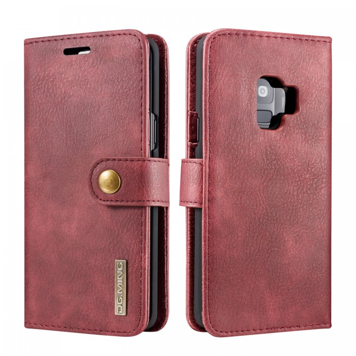 DG MING S9 Case Flip Cover Leather Wallet Magnetic Detachable Back Cover for Samsung Galaxy S9 - Red