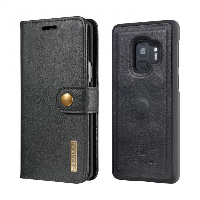 DG MING S9 Plus + Case Flip Cover Leather Wallet Magnetic Detachable Back Cover for Samsung Galaxy S9 Plus Samsung Galaxy S9+ - Black