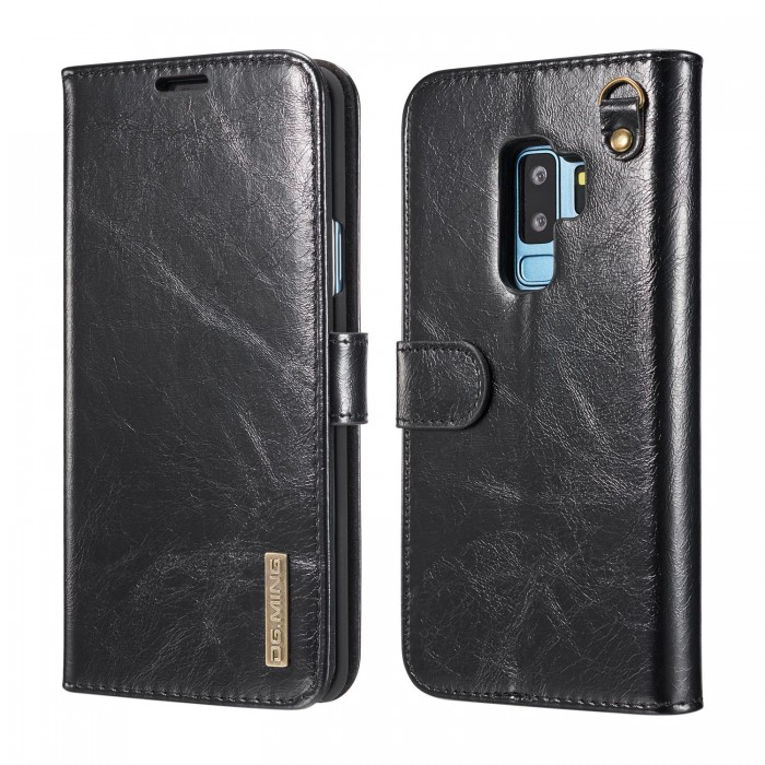 DG MING S9 Case Flip Cover Leather Wallet Magnetic Detachable Back Cover Works With Magnetic Car Stand for Samsung Galaxy S9 - Vintage Black